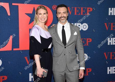 "Elspeth Keller, Reid Scott. Actors Reid Scott, right, and wife Elspeth Keller attend the premiere of the final season of HBO's ""Veep"" at Alice Tully Hall, in New York"