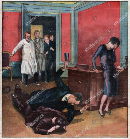 Stock Picture of Justice. Feature story. Mestorino case. The parisian jewel designer Charles Mestorino kills his broker in presence of his sister in law. This case was solved by superintendent Marcel Guillaume that inspired french writer Georges Simenon his famous character Commissaire Maigret. Illustration in: Le Petit Journal, France, June, 17, 1928.