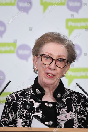 Margaret Beckett speaking at a People's Vote Press Conference