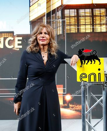 Eni president Emma Marcegaglia pose for photographers prior to the start of the press conference during the 2019-22 ENI strategy presentation in San Donato Milanese, Milan, Italy, . Italian energy giant ENI says it will increase oil and gas production by 3.5 percent a year over its new 2019-2022 business plan, in line with the prior four years
