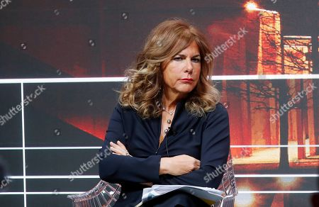 Stock Image of Eni president Emma Marcegaglia attends at the press conference during the 2019-22 ENI strategy presentation in San Donato Milanese, Milan, Italy, . Italian energy giant ENI says it will increase oil and gas production by 3.5 percent a year over its new 2019-2022 business plan, in line with the prior four years