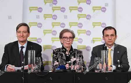 Stock Image of (L-R) British Conservative politician Dominic Grieve, British Labour Party politician Dame Margaret Mary Beckett and Foreign Affairs and Europe spokesman for the Scottish National Party, (SNP) Stephen Gethins to the media during a People's Vote press conference in London, Britain, 27 March 2019. Following a petition to the British Government asking to 'Revoke Article 50 and remain in the EU,' which was signed by more than 5.8 million signatures.The Government stated that 'This Government will not revoke Article 50. We will honour the result of the 2016 referendum and work with Parliament to deliver a deal that ensures we leave the European Union.' The petition is due to be debated by Members of Parliament on 01 April 2019, after breaking the 100,000 threshold for consideration and becoming the best-supported proposal in the history of the House of Commons and government?s e-petitions website.