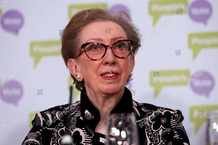 Dame Margaret Beckett MP - Labour former Foreign Secretary at a People's Vote press conference in Westminster setting out an analysis of the different Brexit options facing Members of Parliament in indicative votes. Later today the MPs will vote on a series of alternative Brexit outcomes.