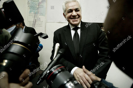 Egyptian opposition leader Hamdeen Sabahi speaks to journalists after a press conference held by several political parties decrying proposed constitutional amendments, in Cairo, Egypt, . Opposition parties are urging Egyptians to vote against constitutional amendments that would potentially allow President Abdel-Fattah el-Sissi to remain in power until 2034