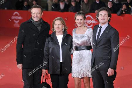 Stock Photo of Christian De Sica with wife Silvia Verdone , daughter Maria Rosa , son Brando