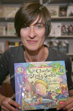 Stock Image of Kristina Stephenson and her book 'Sir Charlie Stinky Socks and the Really Big Adventure'