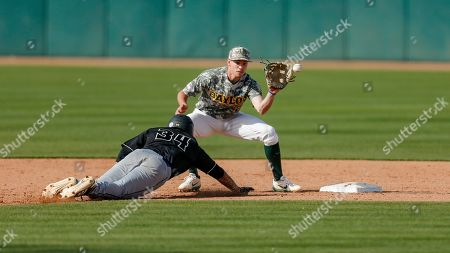 Baylor shortstop Nick Loftin (2) catches a throw to force out Cal Poly freshman Noah Taylor (34) at second during an NCAA college baseball game, in Waco, Texas. Cal Poly won 3-1