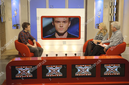 Holly Willoughby and Phillip Schofield talk to 'X Factor' evictee Rikki Loney on screen.