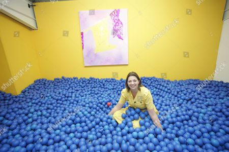 Sarah Kate Wilson with installation 'Blue Ball Pool'