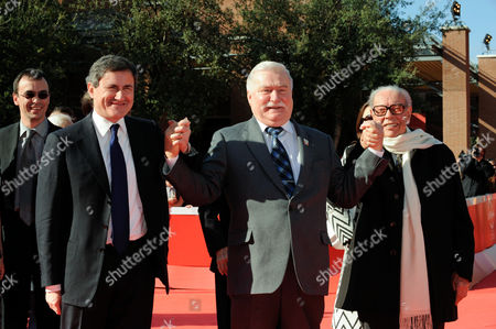 The Mayor of Rome Gianni Alemanno, Lech Walesa, Gianluigi Rondi
