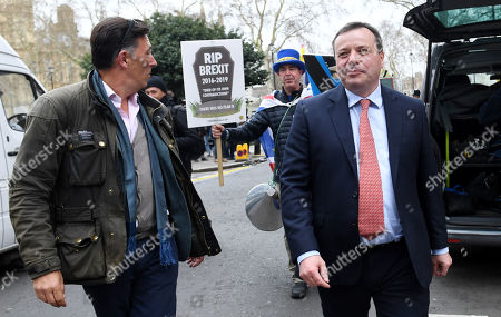 Stock Picture of Ex-UKIP funder Arron Banks and his associate Andy Wigmore outside the Houses of Parliament