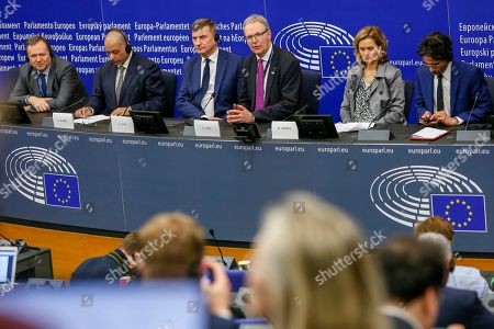 Stock Image of European Parliament press conference on the copyright directive -   Sajjad Karim, Andrus Ansip, Axel Voss and Helga Trupel