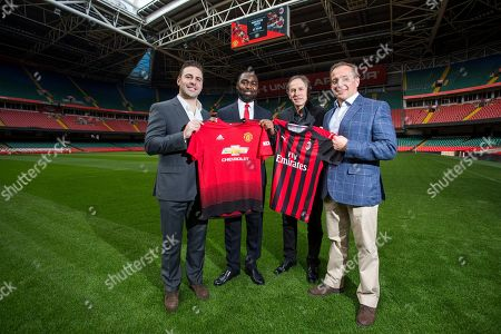 Andrew Cole and Franco Baresi with ICC's Matthew Kontos (left) and WRU's Mark Williams (right)