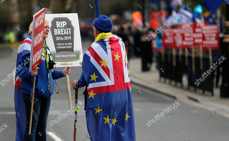 Pro EU protestors demonstrate in front of the Houses of Parliament in London, . British lawmakers were preparing to vote Wednesday on alternatives for leaving the European Union as they seek to end an impasse following the overwhelming defeat of the deal negotiated by Prime Minister Theresa May