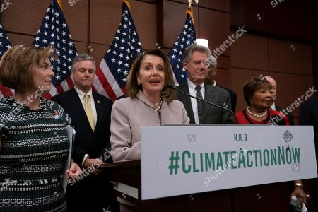 "Nancy Pelosi, Kathy Castor, David Trone, Frank Pallone, Eddie Bernice Johnson. House Speaker Nancy Pelosi, D-Calif., turns her party's attention to the climate crisis as she leads an event to introduce the ""Climate Action Now Act,"" which focuses on reducing carbon pollution, honoring America's Paris Agreement commitments, and lays the groundwork to expand clean energy, at the Capitol in Washington, . From left are, Rep. Kathy Castor, D-Fla., who will chair the House Select Committee on the Climate Crisis, Rep. David Trone, D-Md., Speaker Nancy Pelosi, House Energy and Commerce Chairman Frank Pallone, D-N.J., and Science, Space and Technology Chairwoman Eddie Bernice Johnson, D-Texas"