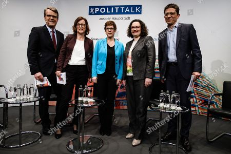 Stock Photo of (L-R) The Senior Advisor Program Future of Democracy of the Bertelsmann Stiftung foundation Robert Vehrkamp, Head of ARD radio stations at the ARD Berlin capital studio Angela Ulrich, Christian Democratic Union (CDU) party chairwoman Annegret Kramp-Karrenbauer, Social Democratic Party (SPD) chairwoman and faction chair in the German parliament Bundestag Andrea Nahles and Sueddeutsche Zeitung Journalist Stefan Braun pose for photographers prior to a discussion round at the Humboldt Carre in Berlin, Germany, 27 March 2019. CDU party chairwoman Annegret Kramp-Karrenbauer and Social Democratic Party (SPD) chairwoman and faction chair in the German parliament Bundestag Andrea Nahles talked with hosts from the Sueddeutsche Zeitung newspaper, the Inforadio radio station and the Bertelsmann Stiftung foundation about the question if those two women are able to save the two German catch-all parties.