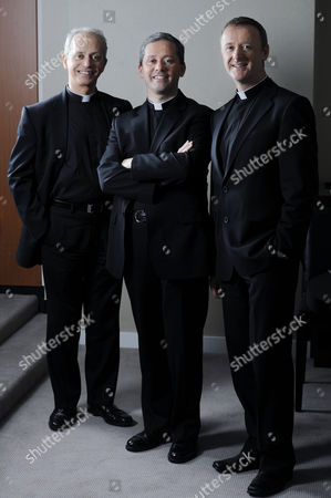 Irish Priests L to R: Father Martin O'Hagen, Father David Delargy and Father Eugene O'Hagan who collectively make up the vocal group, The Priests.