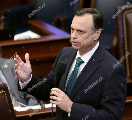 Sen. Tom Lee, R-Brandon, speaks during session Wednesday, March, 27 2019, in Tallahassee, Fla. Florida's government agencies would be prohibited from releasing photos, video or audio that record the killing of a person in an act of mass violence, under a bill approved by the state Senate on Wednesday. Republican bill sponsor Sen. Tom Lee told reporters after the vote that he understands media plays a role in holding authorities accountable after an attack, and said news organizations can petition a judge for the release of recordings and photos