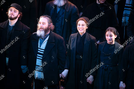 Joshua Gannon (Motel), Andy Nyman (Tevye), Judy Kuhn (Golde) and Harriet Bunton (Hodel) during the curtain call