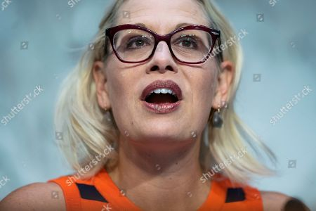 Democratic Senator from Arizona Kyrsten Sinema attends a Senate Commerce Committee hearing on aviation safety and the the recent Boeing crashes, in Washington, DC, USA, 27 March 2019. Lawmakers grilled the witnesses about the FAA allowing airline companies to perform their own inspections. Government and Airlines around the world grounded the Boeing 737 Max aircraft after two fatal crashes, one on 29 October 2018 in Indonesia, and one in Ethiopia on 10 March 2019.