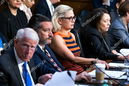 Democratic Senator from Arizona Kyrsten Sinema (C) attends a Senate Commerce Committee hearing on aviation safety and the the recent Boeing crashes, in Washington, DC, USA, 27 March 2019. Lawmakers grilled the witnesses about the FAA allowing airline companies to perform their own inspections. Government and Airlines around the world grounded the Boeing 737 Max aircraft after two fatal crashes, one on 29 October 2018 in Indonesia, and one in Ethiopia on 10 March 2019.