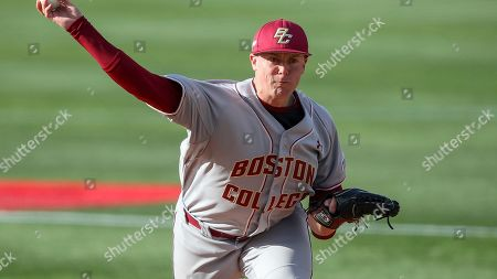 Boston College's Sean Hughes pitches during a Boston College at Northeastern NCAA college baseball game, in Brookline, Mass
