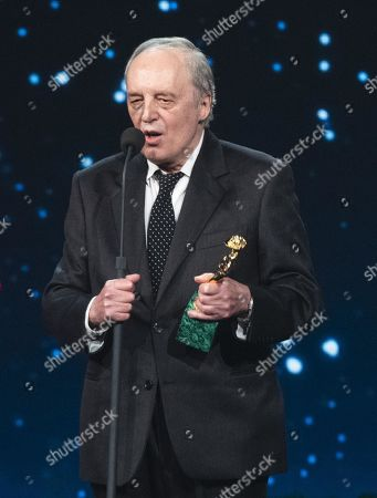 Dario Argento on stage in the occasion of the 64th edition of the David di Donatello Awards of the David di Donatello Awards in Rome, Italy, 27 March 2019. The David di Donatello award is a film prize presented annually to honor the best of Italian and foreign motion picture productions.