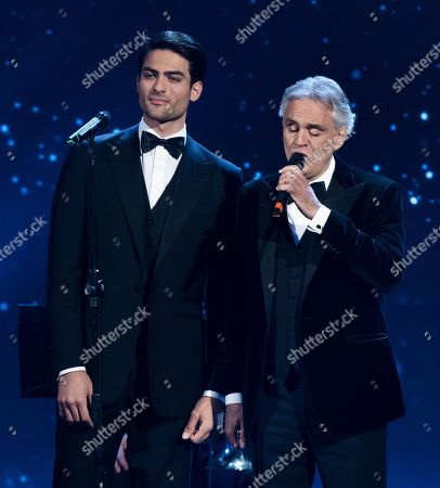 Italian tenor Andrea Bocelli (R) with his son Matteo perform on stage in the occasion of the 64th edition of the David di Donatello Awards in Rome, Italy, 27 March 2019. The David di Donatello award is a film prize presented annually to honor the best of Italian and foreign motion picture productions.