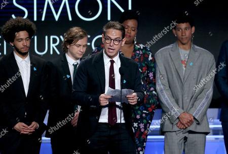 Jorge Lendeborg Jr., Logan Miller, Greg Berlanti, and Keiynan Lonsdale - Outstanding Film - Wide Release award - 'Love, Simon'