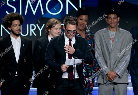 Stock Photo of Jorge Lendeborg Jr., Logan Miller, Greg Berlanti, and Keiynan Lonsdale - Outstanding Film - Wide Release award - 'Love, Simon'