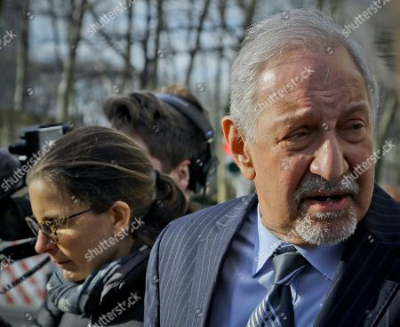 Stock Photo of Mark Geragos, Clare Bronfman, Allison Mack. Attorney Mark Geragos, right, leaves Brooklyn Federal Court with Clare Bronfman, left, a member of Nxivm-- an organization charged in sex trafficking, after she received medical attention while in court, in New York