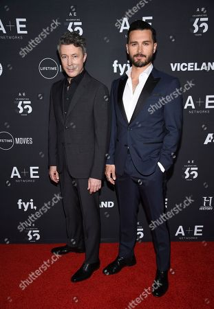 "Aidan Gillen, Michael Malarkey. Project Blue Book"" cast members Aidan Gillen, left, and Michael Malarkey attend A+E Networks' 2019 Upfront at Jazz at Lincoln Center, in New York"