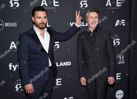 "Michael Malarkey, Aidan Gillen. Project Blue Book"" cast members Aidan Gillen, right, and Michael Malarkey attend A+E Networks' 2019 Upfront at Jazz at Lincoln Center, in New York"