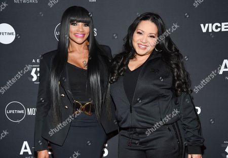 "Sandra Denton, Cheryl James. Hip-hop recording artists Sandra Denton ""Pepa"", left, and Cheryl James ""Salt"" of Salt-N-Pepa attend A+E Networks' 2019 Upfront at Jazz at Lincoln Center, in New York"