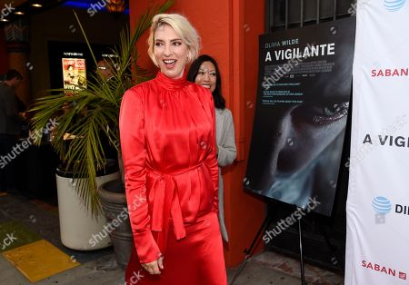 """Sarah Daggar-Nickson, director of """"A Vigilante,"""" arrives at a special screening of the film at the Vista Theatre, in Los Angeles"""