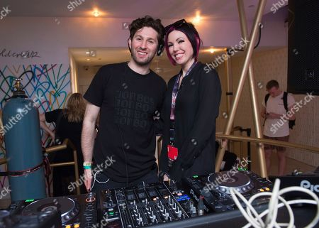 Stock Photo of Matt Medved, Dani Deahl. DJs Matt Medved, left, and Dani Deahl perform at the Big Beat & Friends Miami party at the Dream Hotel, in Miami Beach, Fla