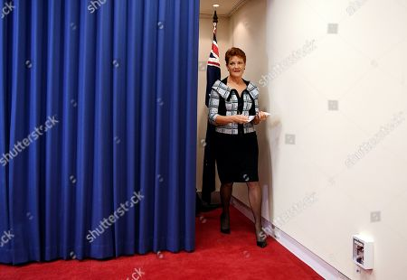 Queensland Senator and Australian One Nation party leader Pauline Hanson arrives at a press conference in Brisbane, Australia, 28 March 2019. Party officials James Ashby and Steve Dickson were caught in an al-Jazeera investigation which used hidden cameras and a journalist posing as a gun campaigner to expose the far-right party's extraordinary efforts to obtain funding in Washington DC in September 2018.