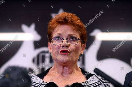 Queensland Senator and Australian One Nation party leader Pauline Hanson speaks during a press conference in Brisbane, Australia, 28 March 2019. Party officials James Ashby and Steve Dickson were caught in an al-Jazeera investigation which used hidden cameras and a journalist posing as a gun campaigner to expose the far-right party's extraordinary efforts to obtain funding in Washington DC in September 2018.