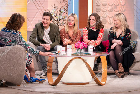 Lorraine Kelly with The Derry Girls cast - Dylan Llewellyn, Saoirse-Monica Jackson, Louisa Hardland and Nicola Coughlam