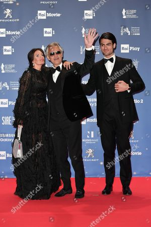 Andrea Bocelli with son Matteo and wife