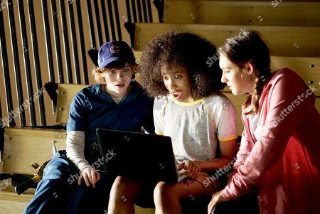 Sophia Lillis as Nancy Drew, Zoe Renee as George Fayne and Mackenzie Graham as Bess Marvin