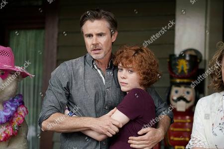 Stock Image of Sam Trammell as Carson Drew and Sophia Lillis as Nancy Drew