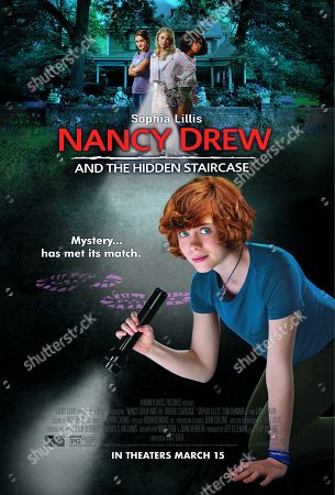 Nancy Drew and the Hidden Staircase (2019) Poster Art. Mackenzie Graham as Bess Marvin, Laura Wiggins as Helen Corning, Zoe Renee as George Fayne and Sophia Lillis as Nancy Drew and