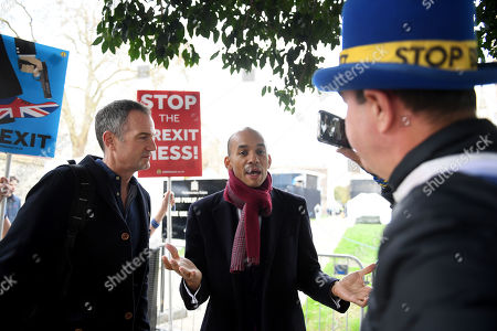 Chuka Umunna, Peter Kyle and Steve Bray outside the Houses of Parliament