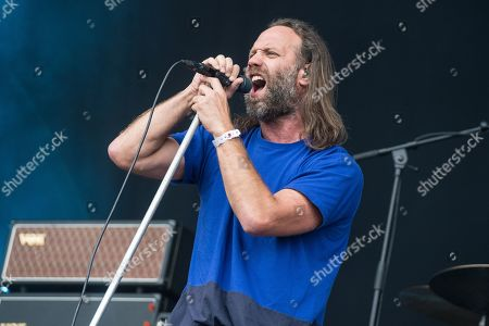 London United Kingdom - July 29: Frontman Gary Stringer Of English Rock Group Reef Performing Live On Stage During Ramblin' Man Fair At Mote Park In Maidstone England On July 29