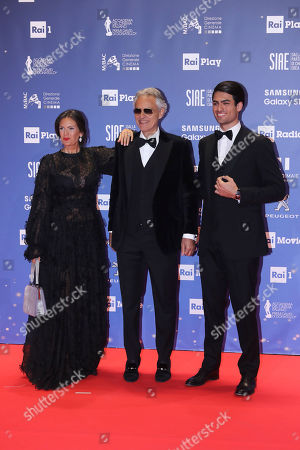 Andrea Bocelli with his wife Veronica Berti and their son Matteo