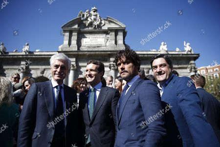 Spanish People Party's (PP) leader Pablo Casado (2-L) poses for photographers with Congress' candidates Adolfo Suarez Illana (L), bullfighter Miguel Abellan (2-R) and deputy Jose Ignacio Echaniz (R) during the presentation of Madrid's list of candidates for the general elections at Puerta de Alcala, in Madrid, Spain, 28 March 2019. The 2019 Spanish general election will be held on 28 April 2019.