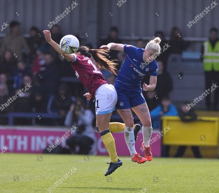 Claire Rafferty of West Ham Women and Bethany England of Chelsea Women in a aerial challenge