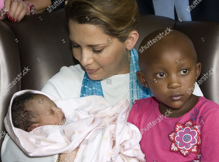 Princess Haya Bint Al Hussein with a 2 week old baby abandoned and with a heart defect who will be treated at the hospital.