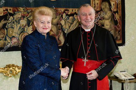 Dalia Grybauskaite, President of the Republic of Lithuania and Pietro Parolin Vatican Secretary of State
